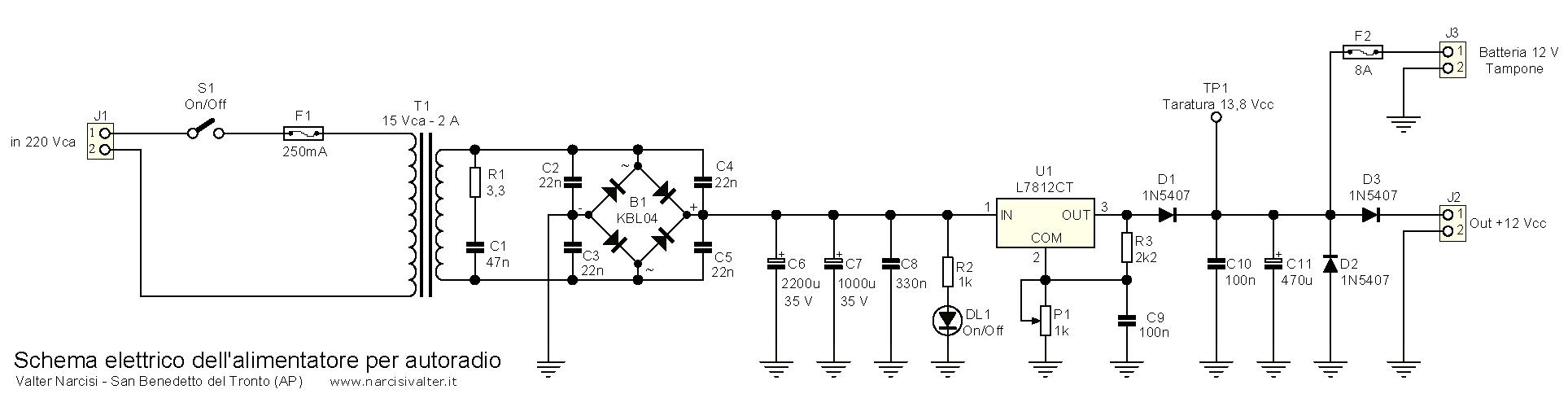 Schema Elettrico Alimentatore : Alimentatore autonomo per autoradio power supply for car