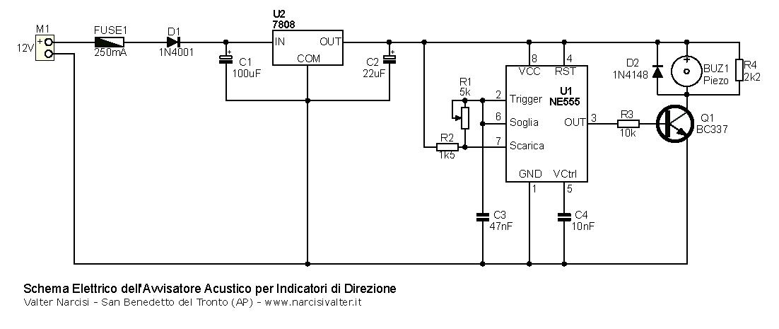 Schema Elettrico Rilevatore Di Presenza : Avvisatore acustico per indicatori di direzione scooter moto