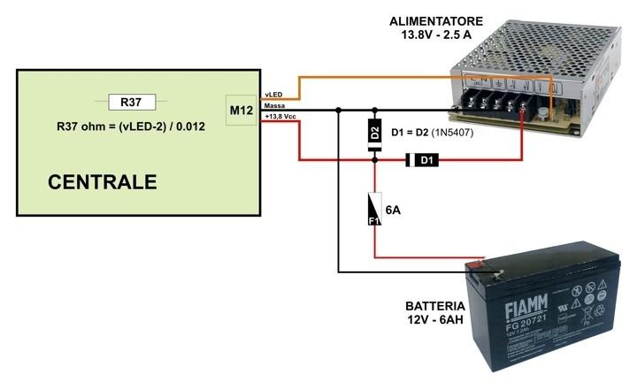 Schema Collegamento Batteria Tampone : Zone burglar alarm control panel centrale antifurto a