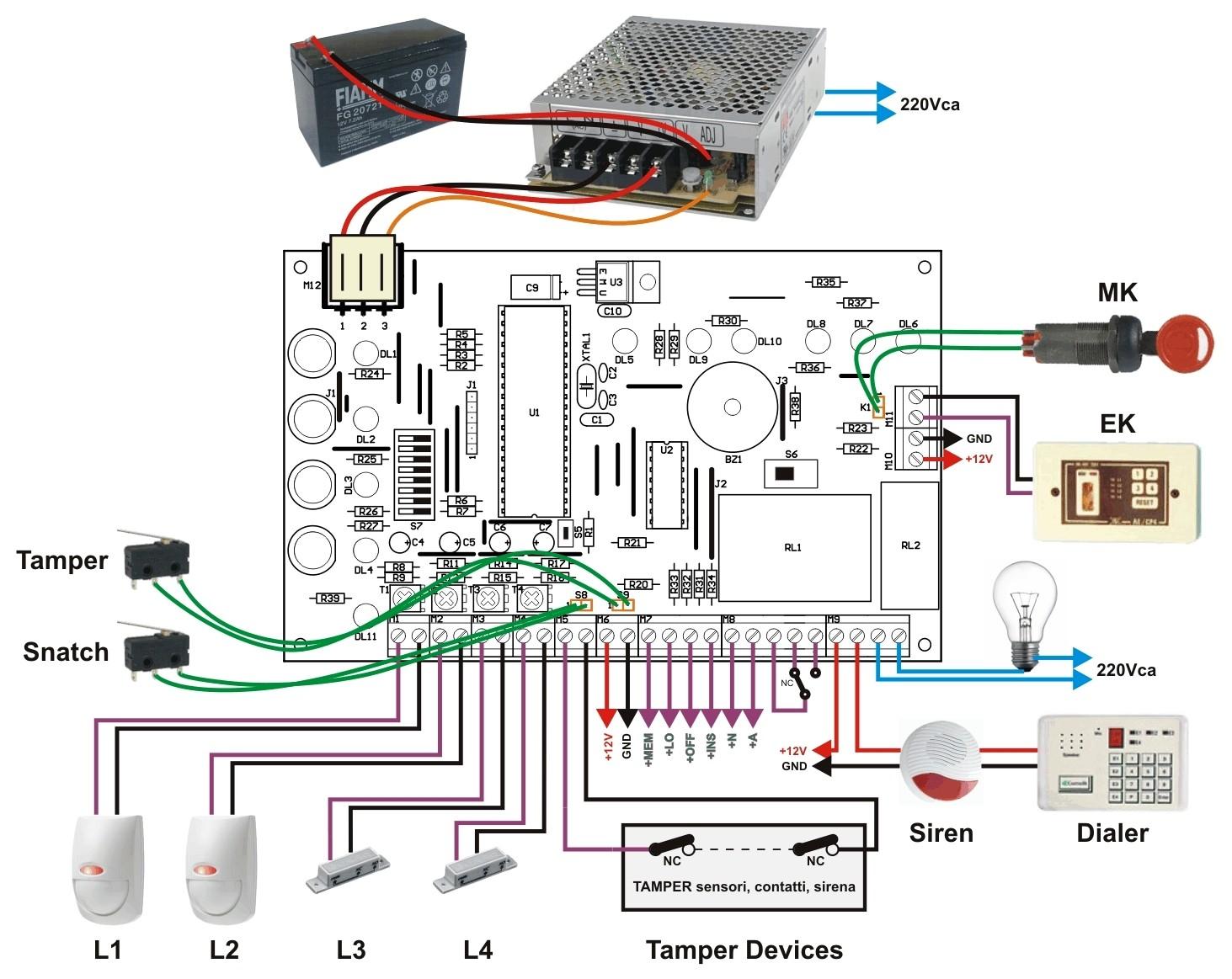 Schema Collegamento Antifurto Filare : Centrale antifurto zone burglar alarm control panel
