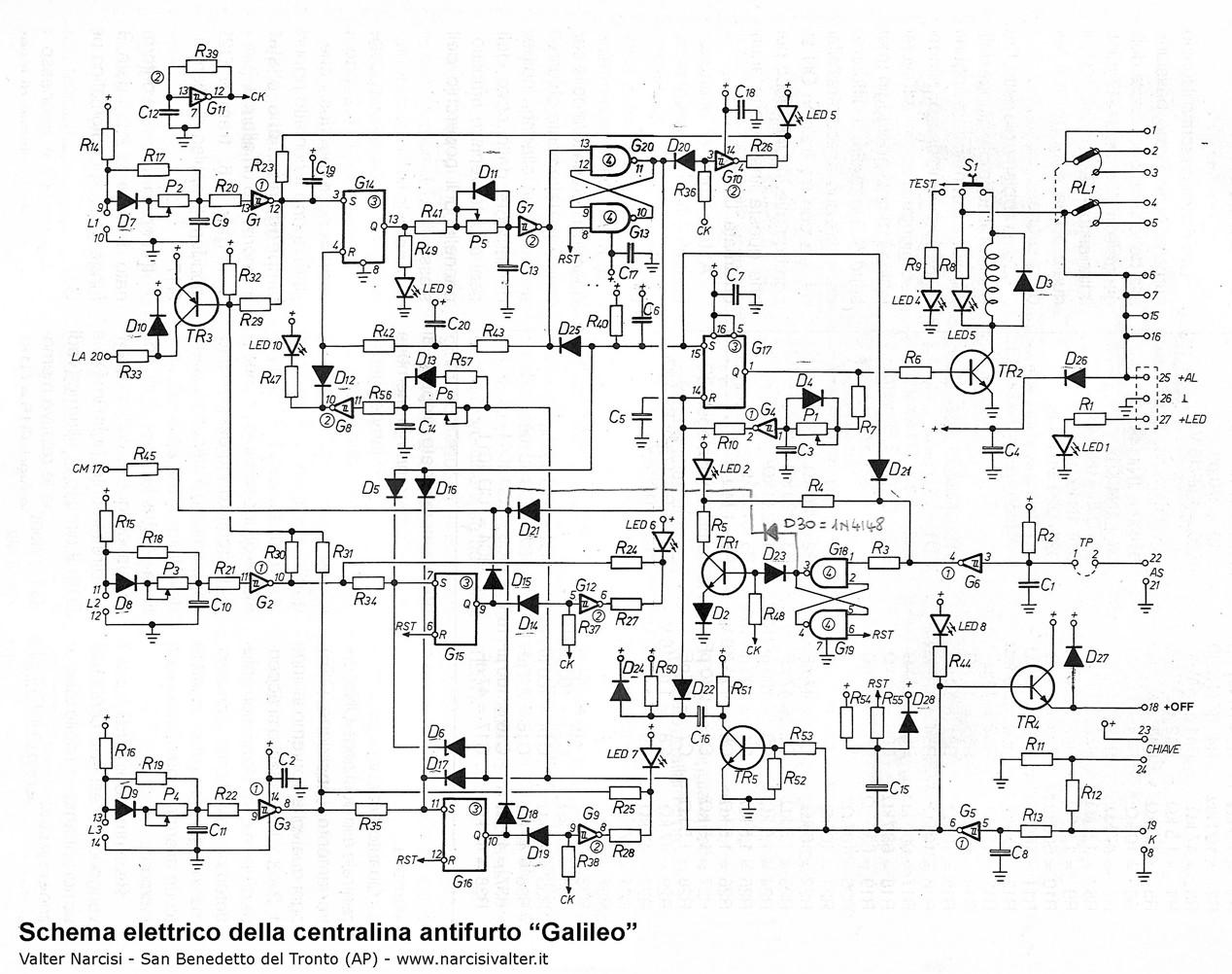 Schema Elettrico Auto : 3 zone burglar alarm control panel centrale antifurto galileo