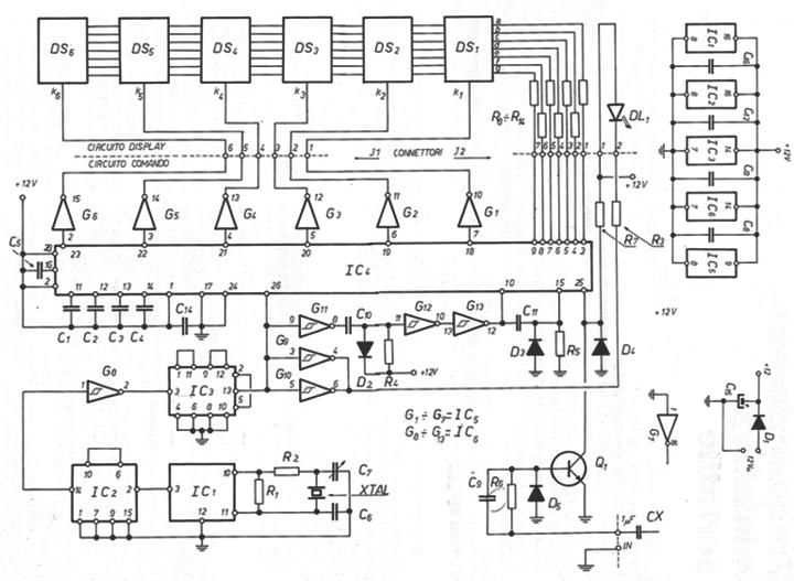 Sigle Componenti Schemi Elettrici : Mhz digital frequency counter frequenzimetro digitale