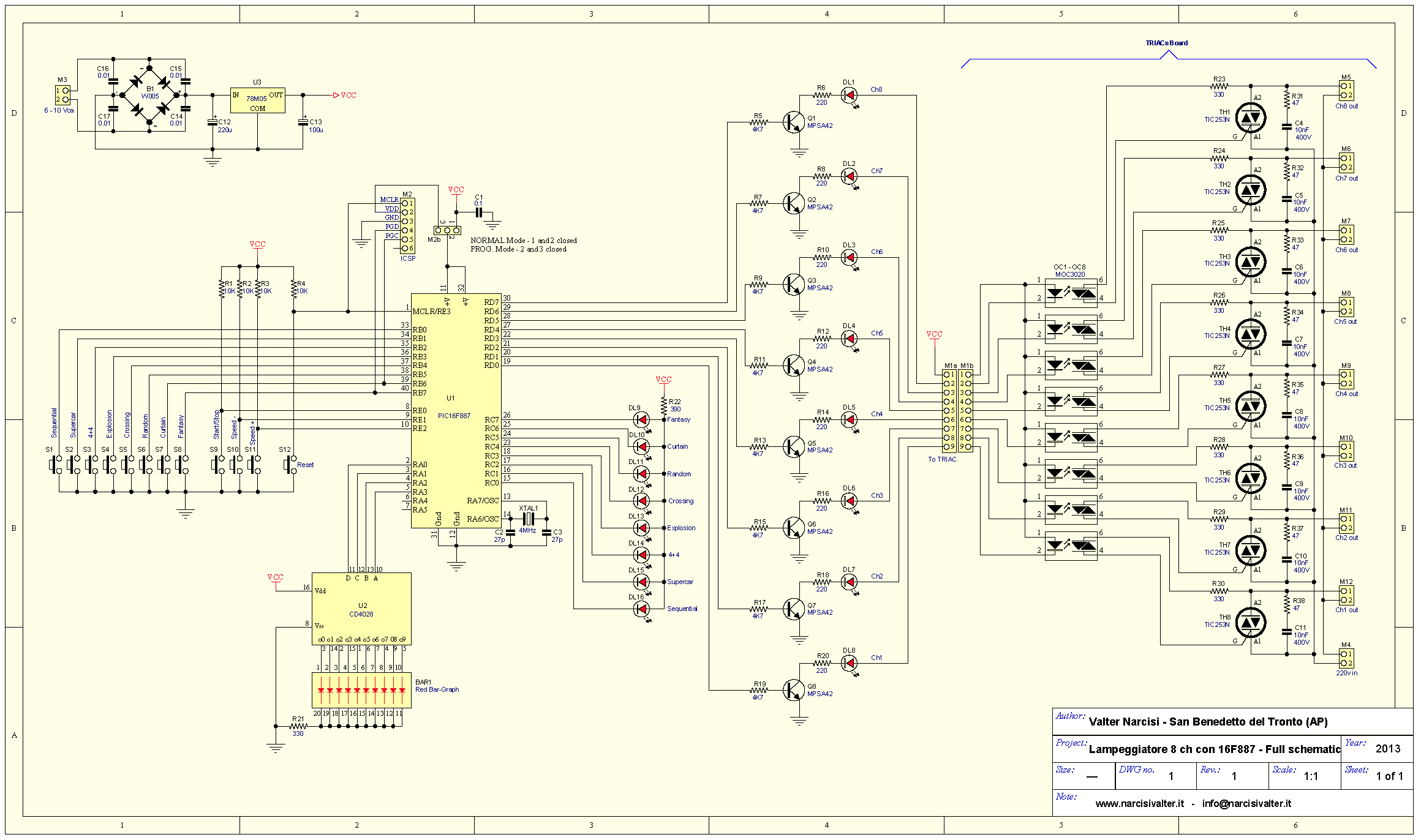 Schema Elettrico Per Lampeggio Led : Channel light blinker lampeggiatore v a canali
