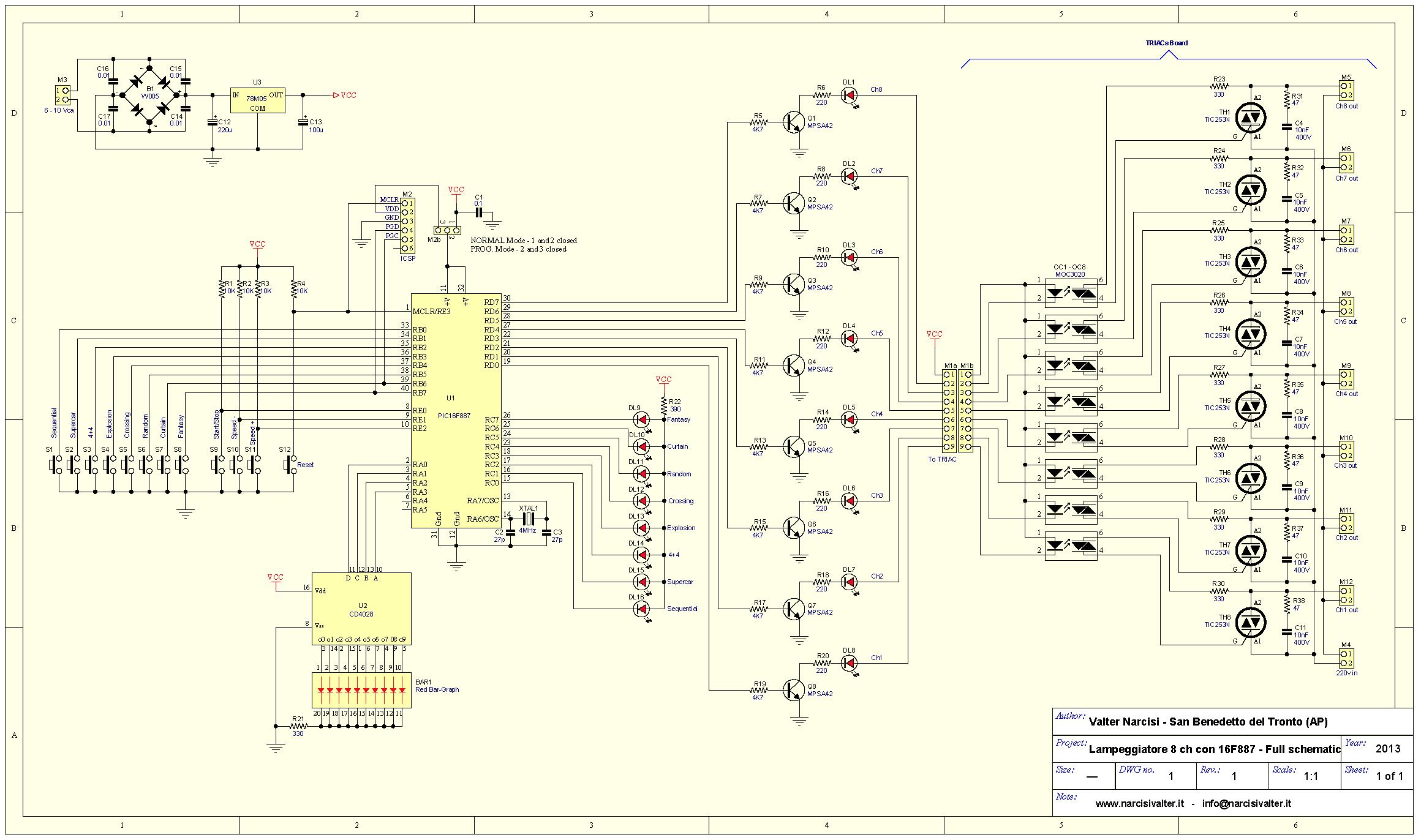 Schema Elettrico Montacarichi 220v : Channel light blinker lampeggiatore v a canali