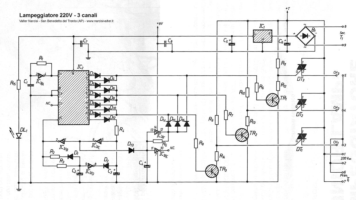 Schema Elettrico Montacarichi 220v : Lampeggiatore junior lamp volt canali ch light
