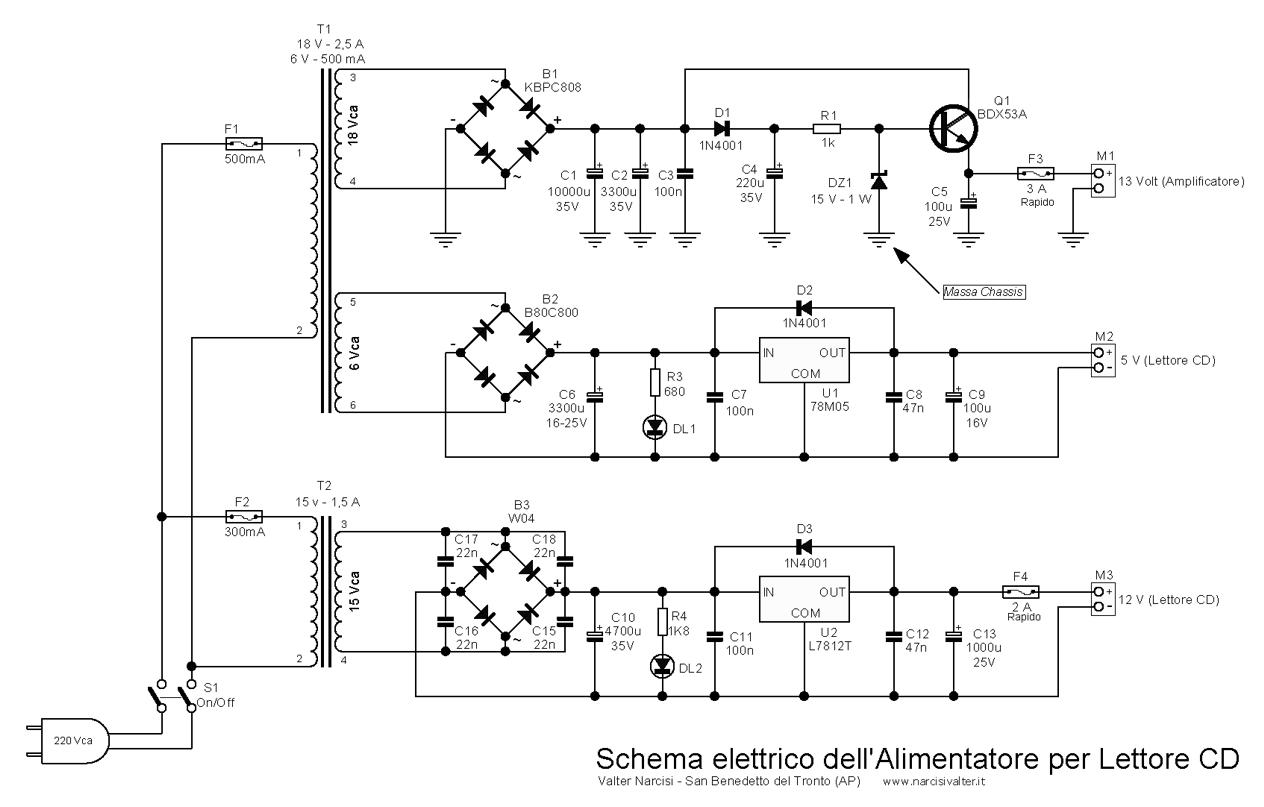 Schemi Elettrici Montaggio : Lettore cd stereo watt amplifier