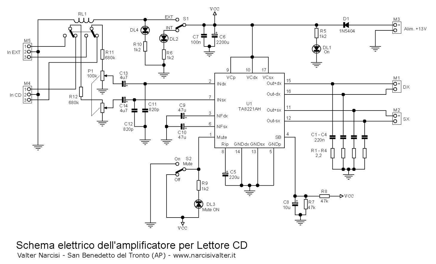 Schema Elettrico Ups Per Pc : Lettore cd stereo watt amplifier