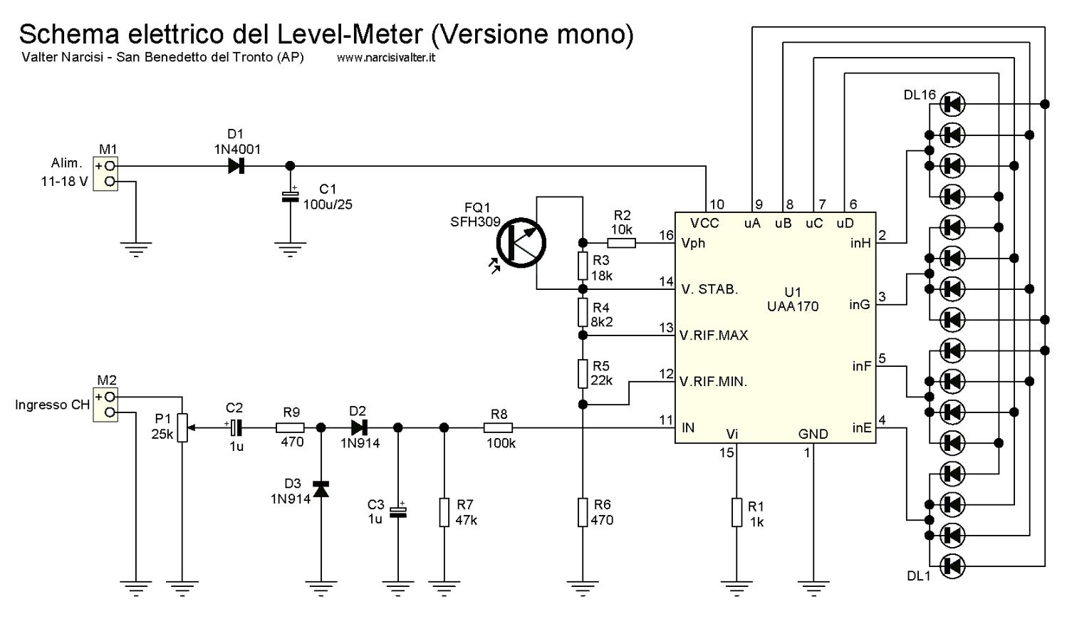 Schema Elettrico Elettrificatore : Schema elettrico vu meter a led fare di una mosca