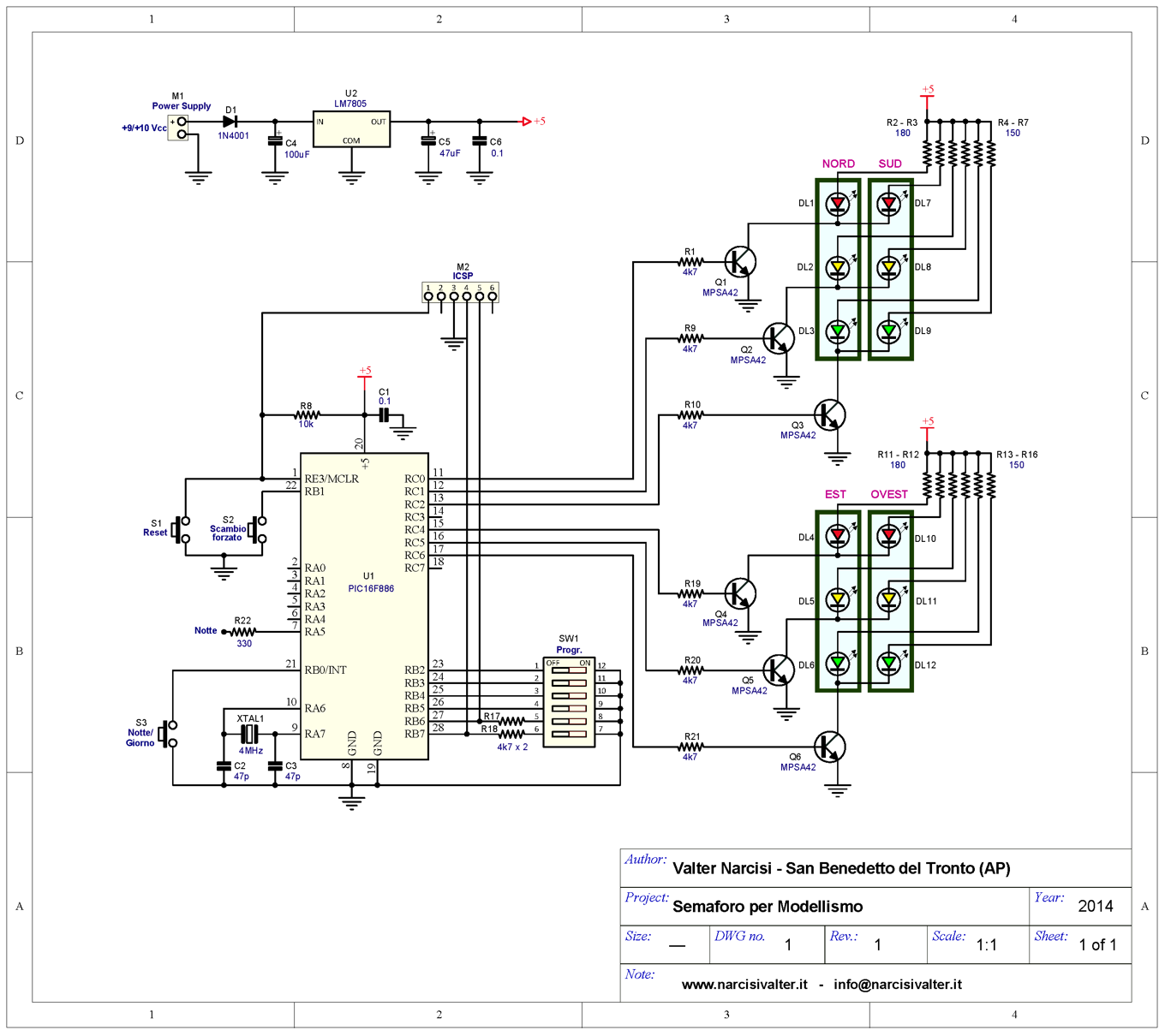 Schema Elettrico Pulsante : Way traffic light for modeling semaforo per modellismo