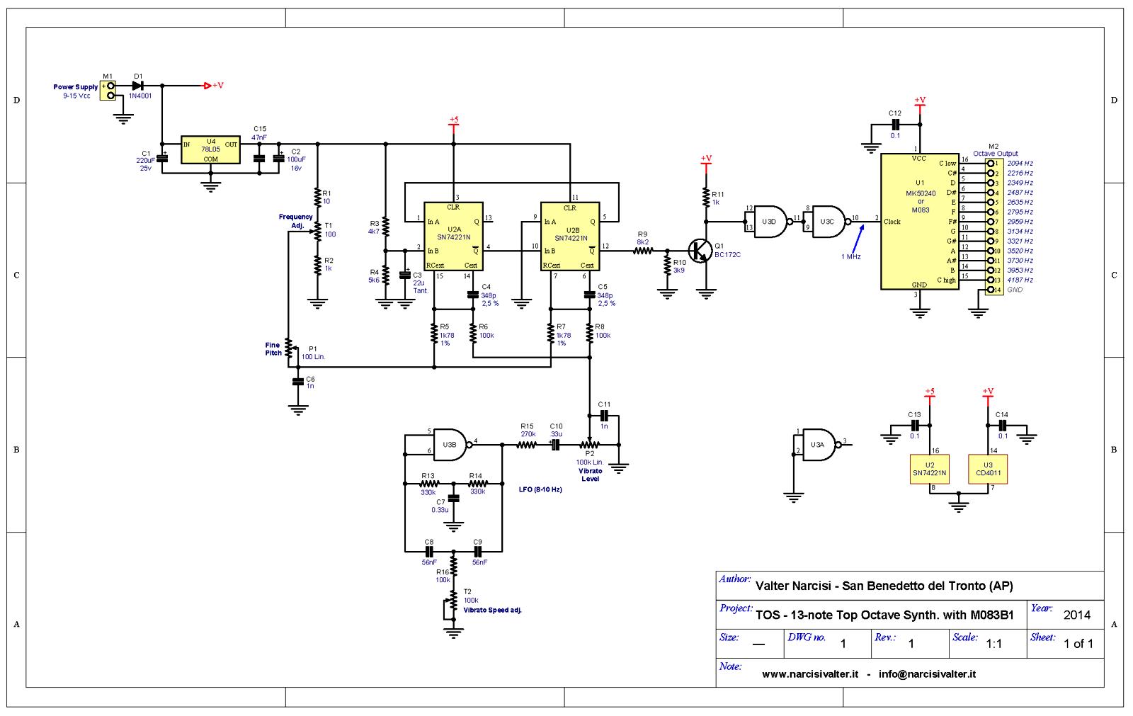 Generatori Ultrasuoni Schemi Elettrici : Tos note top octave generator with m b